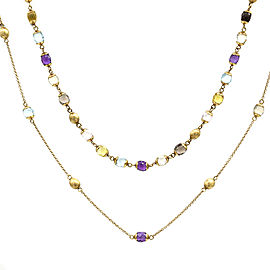 Nanis Multi.-Color Gemstone Station Necklace Featured in 18K Yellow Gold