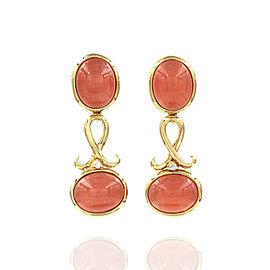 H. Stern Rhodochrosite & Diamond Earrings Featured in 18K Yellow Gold
