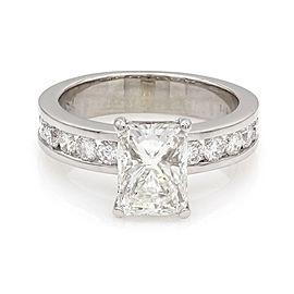 Radiant Center Diamond with Round Chanel Set Diamonds in 14K White Gold