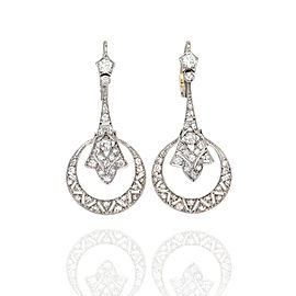 Antique European Pave Diamond Drop Earrings Featured in 18K Gold & Platinum| JH