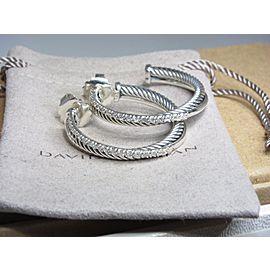 David Yurman Crossover Sterling Silver Diamond Hoop Earrings