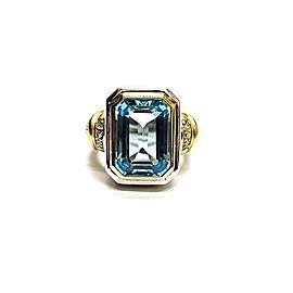 Judith Ripka 18k Yellow Gold Sterling Silver Topaz Diamond Ring Size 6