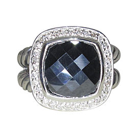 David Yurman Albion Sterling Silver Hematite and Diamond Ring Size 6