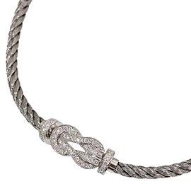 18K White Gold, Sterling Silver, Stainless Steel Diamond Bracelet Size 17mm