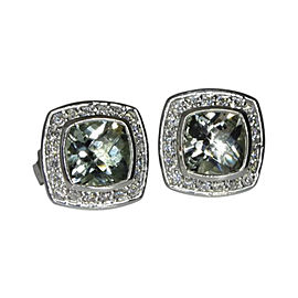 David Yurman Petite Albion Sterling Silver Green Amethyst Diamond Study Earrings