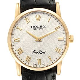 Rolex Cellini Classic Yellow Gold Anniversary Dial Black Strap Watch 5116 Box Papers