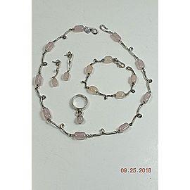 Tiffany & Co. Twirl Sterling Silver Rose Quartz Necklace, Bracelet, Earrings, Ring Set