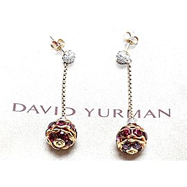 David Yurman 18K Yellow Gold Rhodolite Garnet Diamond Earrings