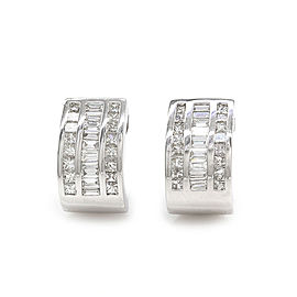 3 Row 1.88ctw Diamond Curved Earrings in 14K White Gold