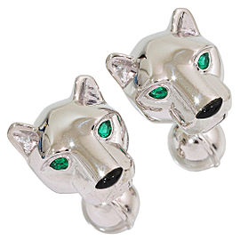 Cartier 18K White Gold Emerald, Onyx Cufflinks