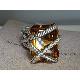 David Yurman Sterling Silver Citrine and Diamond Ring Size 6