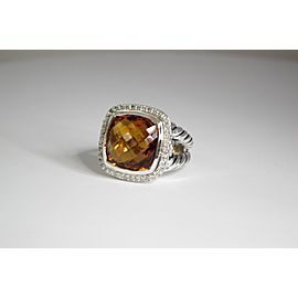 David Yurman Albion Sterling Silver Citrine Diamond Ring Size 7