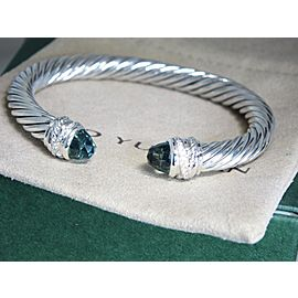 David Yurman Sterling Silver Green Amethyst Cuff Bracelet