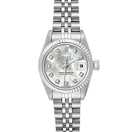 Rolex Datejust Steel White Gold MOP Diamond Dial Ladies Watch 69174 Box