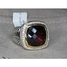 David Yurman Albion Sterling Silver & 18K Yellow Gold Garnet Diamond Cocktail Ring Size 7.5