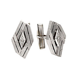 Diamond Elongated Hexagon Cuff Links Featured in Textured 14K White Gold