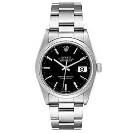Rolex Datejust Black Dial Steel Mens Watch 16200