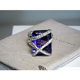 David Yurman Sterling Silver Amethyst and Diamond Cocktail Ring Size 6