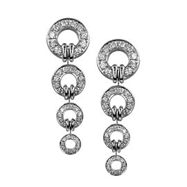 Di Modolo Tempia Pave Diamond Circle Earrings Featured in 18K White Gold