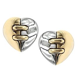 Bvlgari 18K Yellow Gold, Stainless Steel Earrings