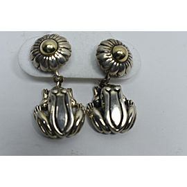 Kieselstein-cord Frog Flower Sterling Silver and 14k Yellow Gold Earrings