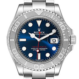 Rolex Yachtmaster 40mm Steel Platinum Blue Dial Mens Watch 116622 Box Card