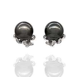 Omega 18K White Gold Cultured Pearl, Diamond Earrings
