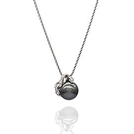 18K White Gold Cultured Pearl, Diamond Necklace