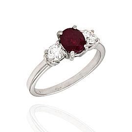 Platinum Ruby, Diamond Ring Size 8.75