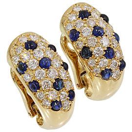 Cartier 18K Yellow Gold Diamond, Sapphire Earrings