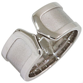 Cartier Double C 18K White Gold Ring Size 7.75