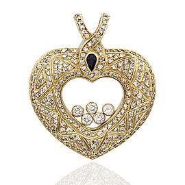 18K Yellow Gold Diamond, Sapphire Pendant