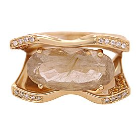 14k Yellow Gold Rutilated Quartz and Diamond Ring