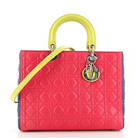 Christian Dior Tricolor Lady Dior Bag Cannage Quilt Lambskin Large