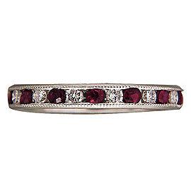Platinum .54ct Diamond .90ct Ruby Ring Size 6 1/2