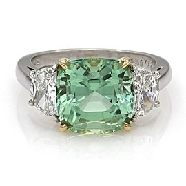 Tiffany & Co. Platinum Tourmaline, Diamond Ring Size 4.75