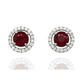 18K White Gold Ruby, Diamond Earrings
