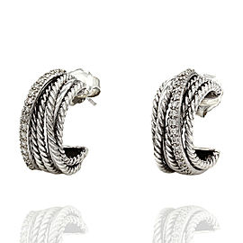 David Yurman Crossover Cable Hoops with Diamonds in Silver and Gold
