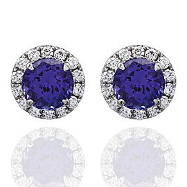 Tanzanite and Diamond Stud Earrings in Gold | FJ-B