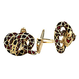 Enamel Snake Cufflinks in Gold