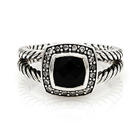 Yurman Petite Albion Onyx and Diamond Ring in Silver | FJ-B