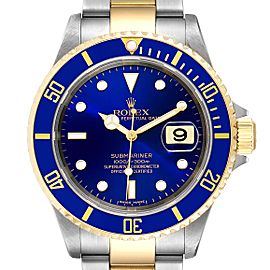 Rolex Submariner Purple Blue Dial Steel Yellow Gold Mens Watch 16613 Box