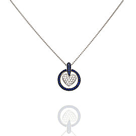 Turgeon Raine Sapphire and Diamond Heart Necklace in Gold