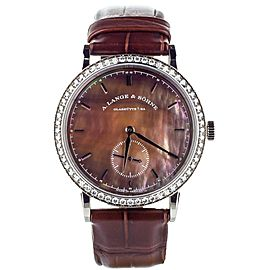 A. Lange and Sohne diamond bezel brown Mother of Pearl dial Saxonia 35mm 878.038