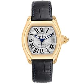 Cartier Roadster Yellow Gold Blue Strap Large Mens Watch W62005V2 Box