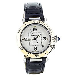 Cartier Pasha yellow gold bezel Leather Deployant 38mm ref: 2378