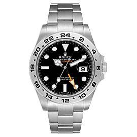 Rolex Explorer II 42 Black Dial Orange Hand Steel Mens Watch 216570 Box Card