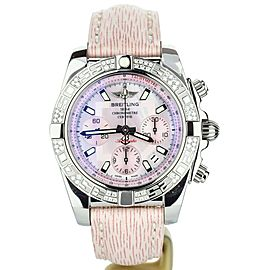 Breitling Chronomat 41mm Pink Dial Diamond Bezel Limited AB0140