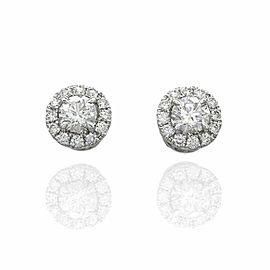Diamond Halo Stud Earrings in Gold