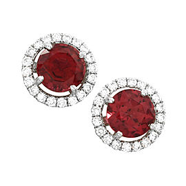 Rubellite Tourmaline and Diamond Stud Earrings in Gold